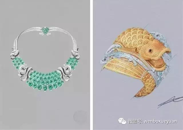 手绘表现技法 3,首饰镶嵌结构与金属效果的表现技法 4,珠宝效果图的